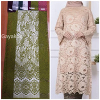 002 kain bahan brukat gaun wanita kebaya semi prancis nylon full