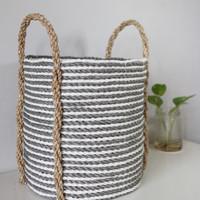 Dia 25cm/Keranjang Anyaman/Cover Pot/Plastik Kombinasi Seagrass/LW05-S