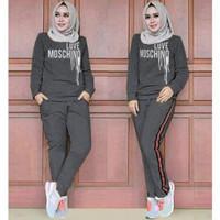 Baju stelan olahraga wanita 1set celana cewek training mosschino - Abu