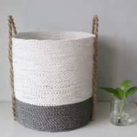 (Large) Keranjang Anyaman/Cover Pot/Plastik Kombinasi Seagrass/LW05-L