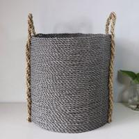 Dia 30cm/Keranjang Anyaman/Cover Pot/Plastik Kombinasi Seagrass/LW05-M