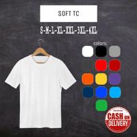 Kaos Polos Atasan Soft TC Pria Wanita pendek Oblong Hitam Putih Warna