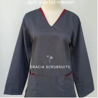 Scrub/baju oka/baju jaga dokter list warna (1 stel lgn panjang S M L)