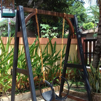 Kursi Bangku Ayunan untuk Taman Kayu Jati Terbaru