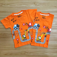 Baju Atasan Kaos Anak Laki Konstruksi Excavator Construction Orange