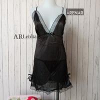 SKA79 Sexy Lingerie Hitam Dress - Baju Tidur Tipis Transparan Wanita