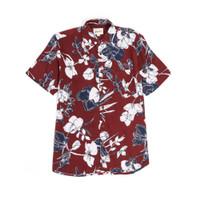 Kemeja Pria Motif White Blooms Bunga Holiday Shirt Lengan Pendek - Merah, M