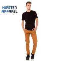 Hipster celana chino panjang pria warna gold/emas