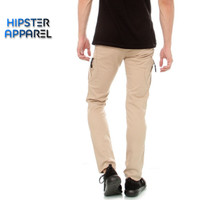 Hipster celana panjang cargo tactical slimfit warna cream
