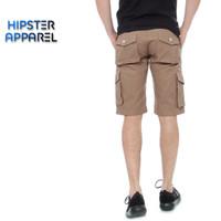 Hipster celana gunung cargo pendek warna mocca/beige