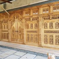 pintu gebyok kayu jati full ukir panjang
