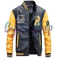 Jaket Kulit Gaya Baseball Style Slim Fit - Yellow M