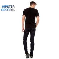 Hipster celana jeans warna biru dongker