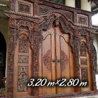 jual pintu gebyok jati full ukir kaligrafi/relief