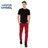 Hipster celana chino panjang pria warna MAROON