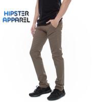HIPSTER celana chino panjang pria warna coklat tua