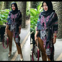 Baju tenun wanita blazer murah original motif Kalimantan X2