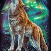 T shirt / kaos glow in the dark 3 dimensi serigala WOLF AURORA
