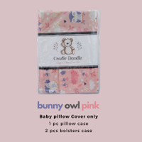 Baby Pillow Set SOFT (Newborn) with Organic Cover Bunny Owl Pink