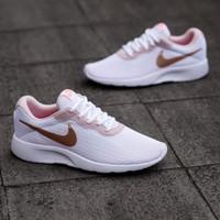 Sepatu Nike Tanjun White Gold Putih Emas Padding Peach Original