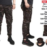 celana joger cargo panjang motif loreng army tentara size38-42 premium - Loreng Coklat, 38