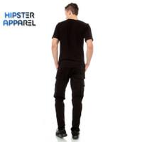 Hipster celana panjang cargo warna hitam