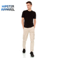 HIPSTER celana panjang cargo pria warna cream