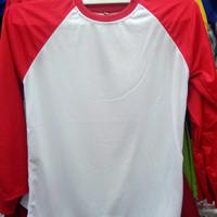 Kaos Raglan Merah Putih lengan panjang polos