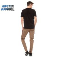 Hipster celana panjang cargo tactical slimfit warna mocca