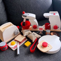 Kitchen Wooden Toy Toaster Ice Cream Mixer Bakery Coffee maker waffle
