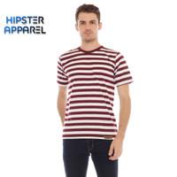 HIPSTER Kaos pria bergaris besar kombinasi warna putih dan marun