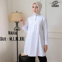 Kemeja blouse wanita atasan putih PNS guru - Naila - S