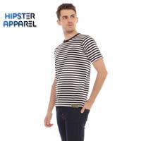 HIPSTER Kaos pria bergaris sedang kombinasi warna hitam dan putih