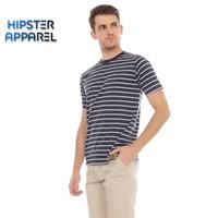 HIPSTER Kaos pria bergaris kecil kombinasi warna navy dan putih
