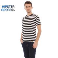 HIPSTER Kaos pria bergaris besar kombinasi warna hitam dan putih