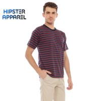 HIPSTER Kaos pria bergaris kecil kombinasi warna navy dan merah
