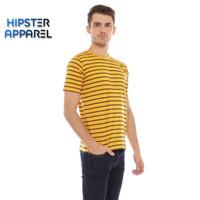 HIPSTER Kaos pria bergaris kecil kombinasi warna kuning dan hitam