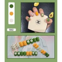 Kuku palsu false fake nails korean japan nail art flower lucu free lem