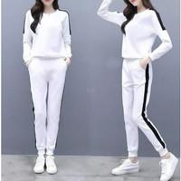 Baju setelan olahraga wanita Koshi Putih Baju stelan training senam