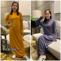 Baju Terusan Long Dress Wanita bahan kaos Lengan Panjang gamis polos