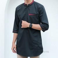 Terbaru Baju Koko Pria/Baju Kurta Putih/Gamis Pakistan/Baju Muslim - Hitam, M