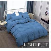 Bedcover Premium Polos Tinggi 30 cm Vallery Quincy warna biru variasi