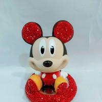 Pajangan Hiasan Refresher Dashboard Mobil Mickey Mouse Blling Bling - Merah