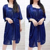 SKA57 Dress Lingerie Kimono Navy Full set - Baju Tidur Tipis Wanita
