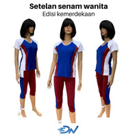 setelan olahraga wanita baju senam dan celana 3per4 olahraga cewe set - Biru, S