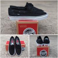 Sepatu vans zapato del barco black white original premium import