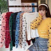 Atasan Wanita Import C597# knit polka lengan full