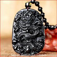 Kalung Liontin Batu Giok Hitam Black Onyx Motif Naga