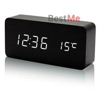 Jam Meja Kayu LED Digital / Jam Weker / Wood Clock Alarm