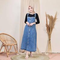 Baju Gamis Wanita Terbaru Candy Overall Denim Jumpsuit Dress Murah